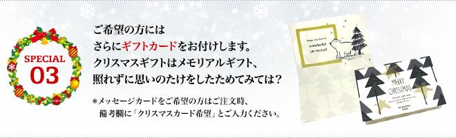 ご希望の方には さらにギフトカードをお付けします。 クリスマスギフトはメモリアルギフト、 照れずに思いのたけをしたためてみては