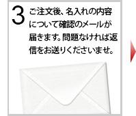 ご注文後、名入れの内容について確認のメールが届きます。問題がなければ返信をお送りくださいませ。