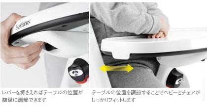 ベビービョルンハイチェア テーブル下に付いたレバーを押さえれば、テーブルの位置をベビーに合わせて調節できます。テーブルの位置を調節することで、チェアとベビーがしっかりとフィットし、ベビーはチャアの上に立ち上がることができません。