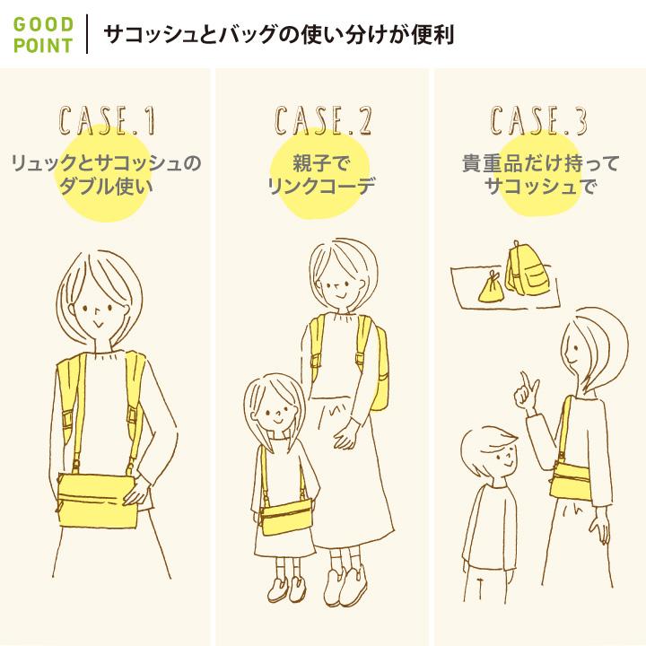 10mois(ディモア) サコッシュ・巾着つきマザーズリュックサコッシュとバッグの使い分けが便利