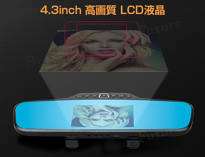 フルHD バックミラー ダブルレンズ Full HD 1080P ブルーレイミラー モーションセンサー シームレス録画 Gセンサー ◇F12HD