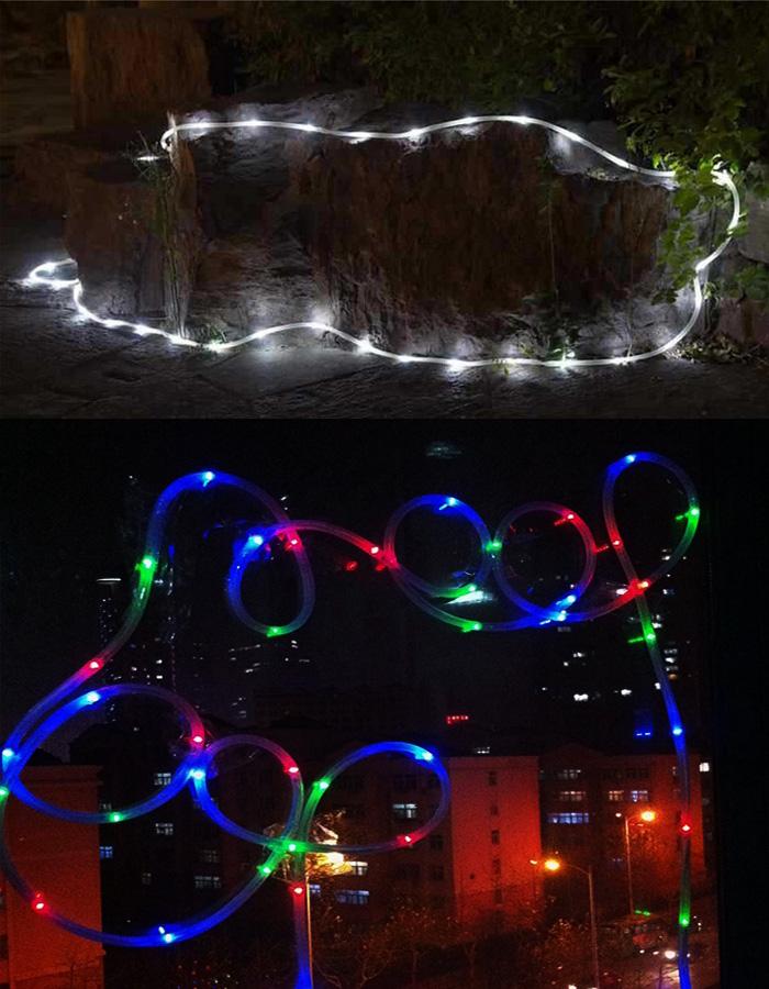 ソーラーLEDチューブライト/10m/防水/水中使用OK/電気代0円/エコ/イルミネーションに/クリスマス/イベント◇SNNER-10