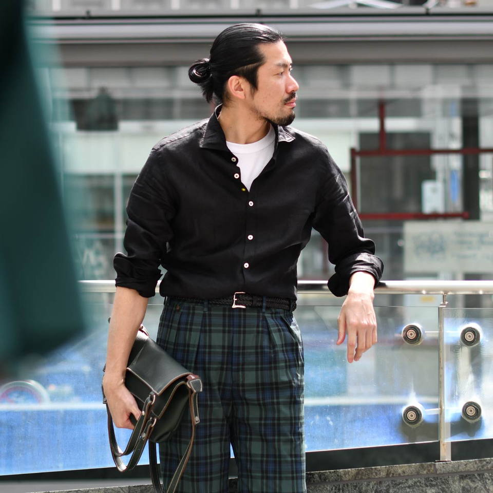 Giannetto【ジャンネット】リネンシャツ VINCIFIT 841370V81 0008 ブラック