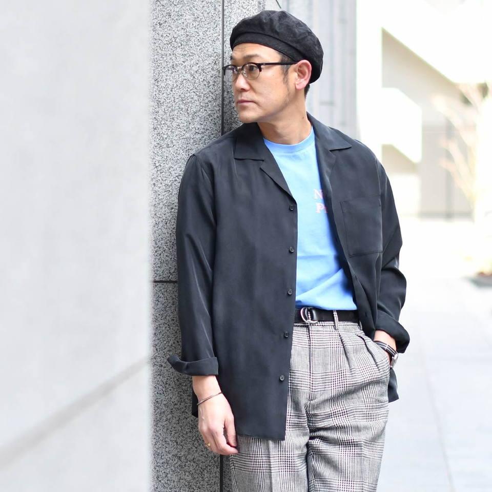 Moncao【モンサオ】オープンカラーシャツ M021106 99 BLACK ウォッシャブルシルク ブラック