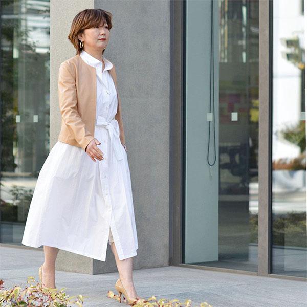 EMMETI【エンメティ】ノーカラーレザーブルゾン BRYANNA TIGERSEYE ラムレザー ベージュ
