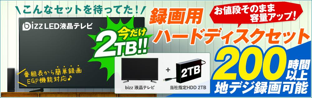 bizz(ビズ)液晶テレビ 録画用ハードディスクセット特集