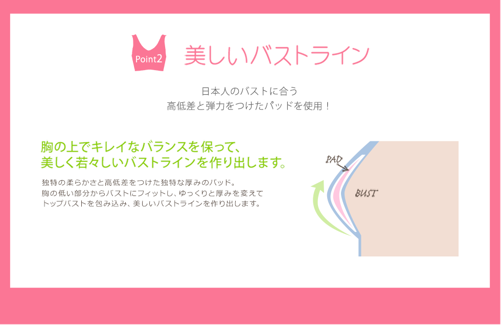 【Point2:美しいバストライン】 日本人のバストに合う高低差と弾力をつけたパッドを使用!