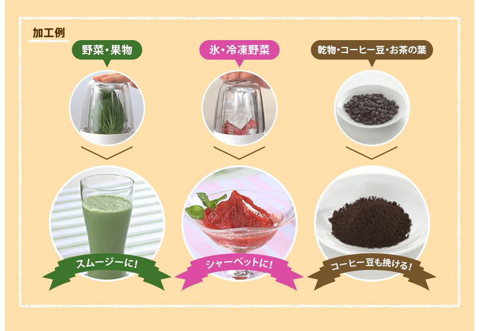 加工例 | 野菜・果物 スムージーに! | 氷・冷凍野菜 シャーベットに! | 乾物・コーヒー豆・お茶の葉 コーヒー豆も挽ける!