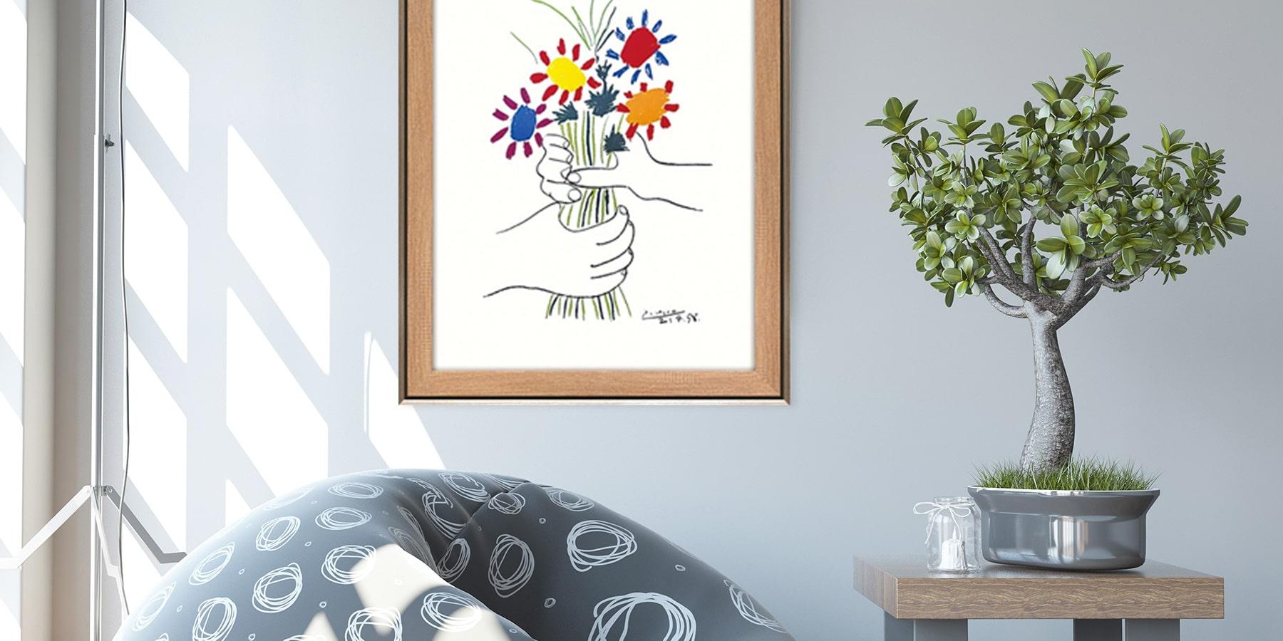 アート 壁掛け インテリア 絵画 ピカソ 額入り アートパネル パブロ ピカソ 花束を持つ手