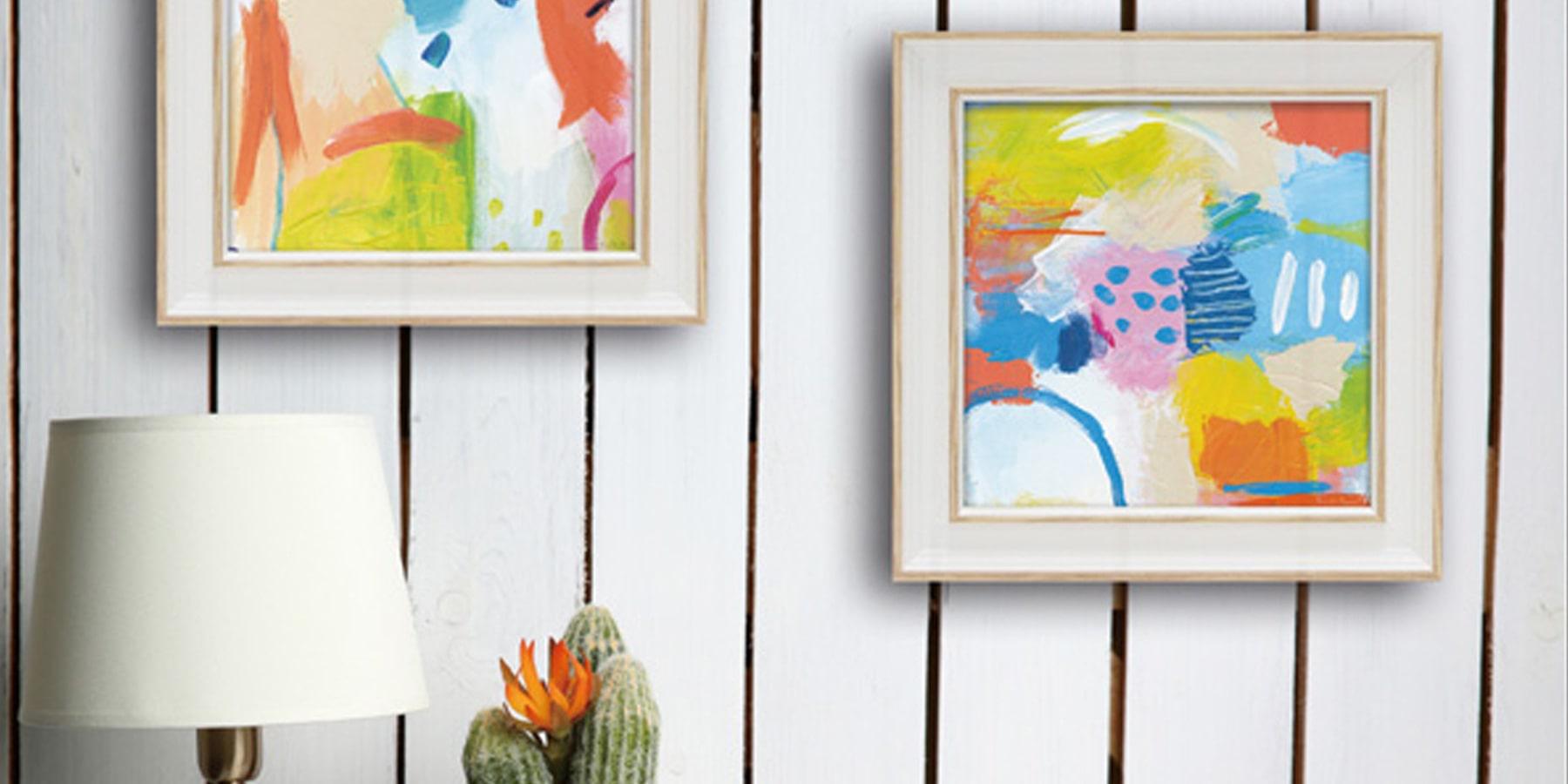 アート 壁掛け 卓上 インテリア 絵画 モダン 額入り アートパネル ミニゲルアートフレーム ファリダ ザマン チアフル1