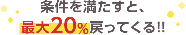 条件を満たすと、最大30%戻ってくる!