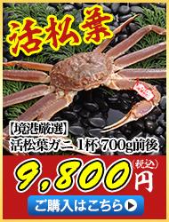 活松葉ガニ1杯700g前後 10,800円