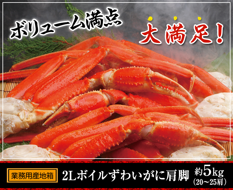 ボリューム満点大満足 【業務用産地箱】2L〜Lボイル本ずわい蟹肩脚 約5kg(20〜31肩)
