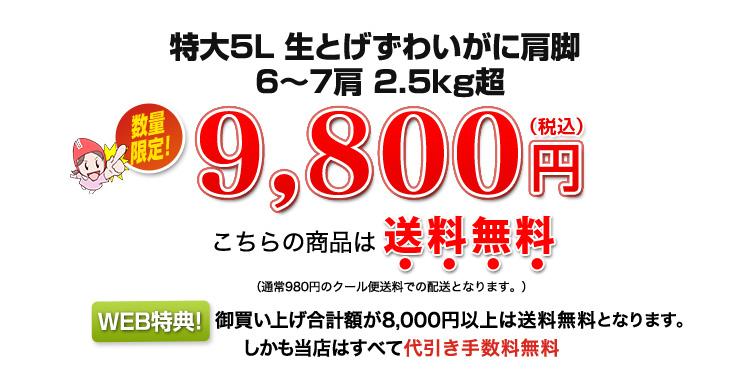 2.5kg超、数量限定9,800円(税込)