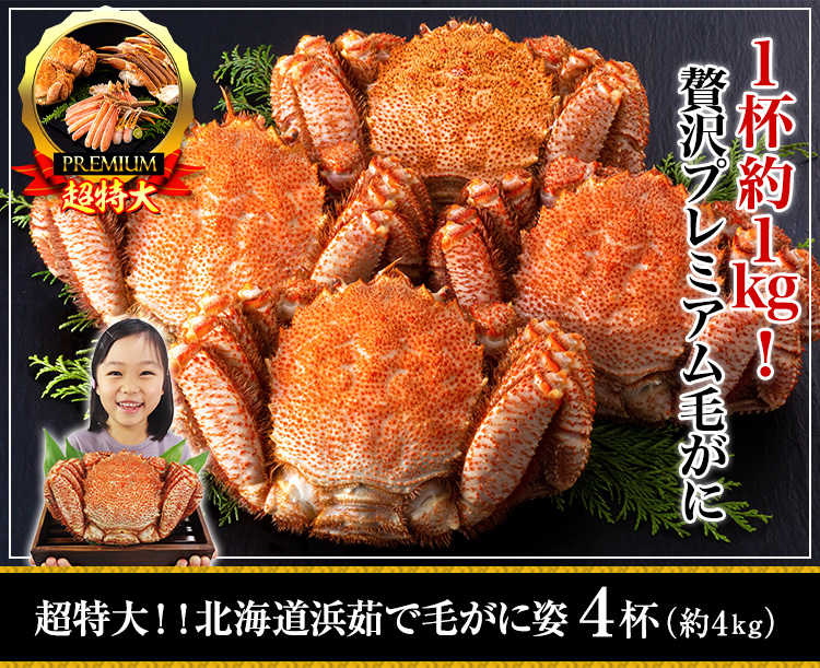 超特大!!北海道浜茹で毛がに姿 4kg超(4杯)
