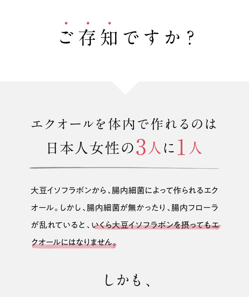 ご存知ですか?エクオールを体内で作れるのは日本人女性の3人に1人
