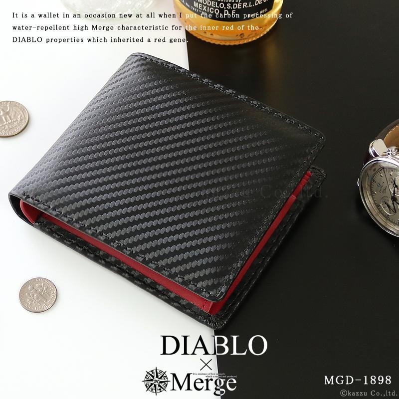 timeless design 68cd3 0f00f 財布 メンズ 二つ折り 折り財布 二つ折り財布 カーボンデザイン×本革 レザー ショートウォレット DIABLO Merge MGD-1898