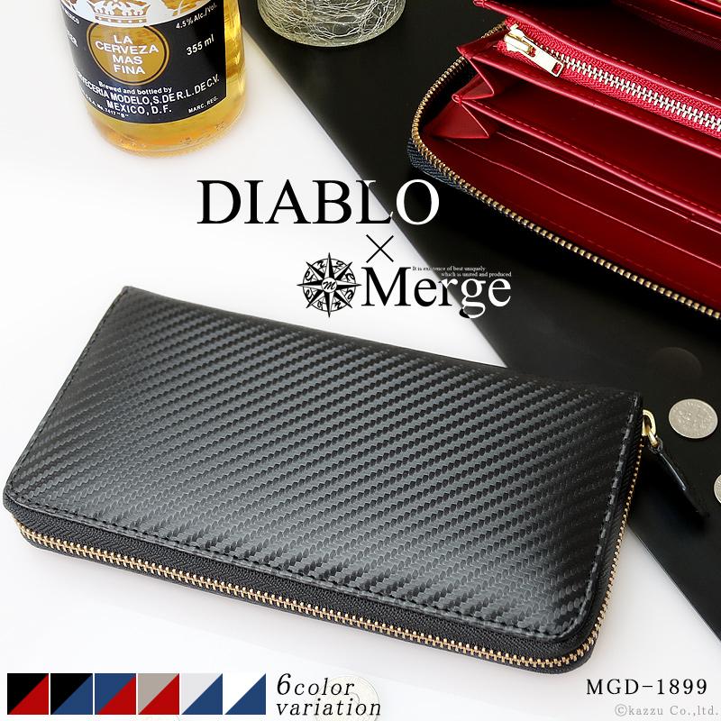DIABLO×Merge メンズ カーボン加工 ラウンドファスナー 長財布