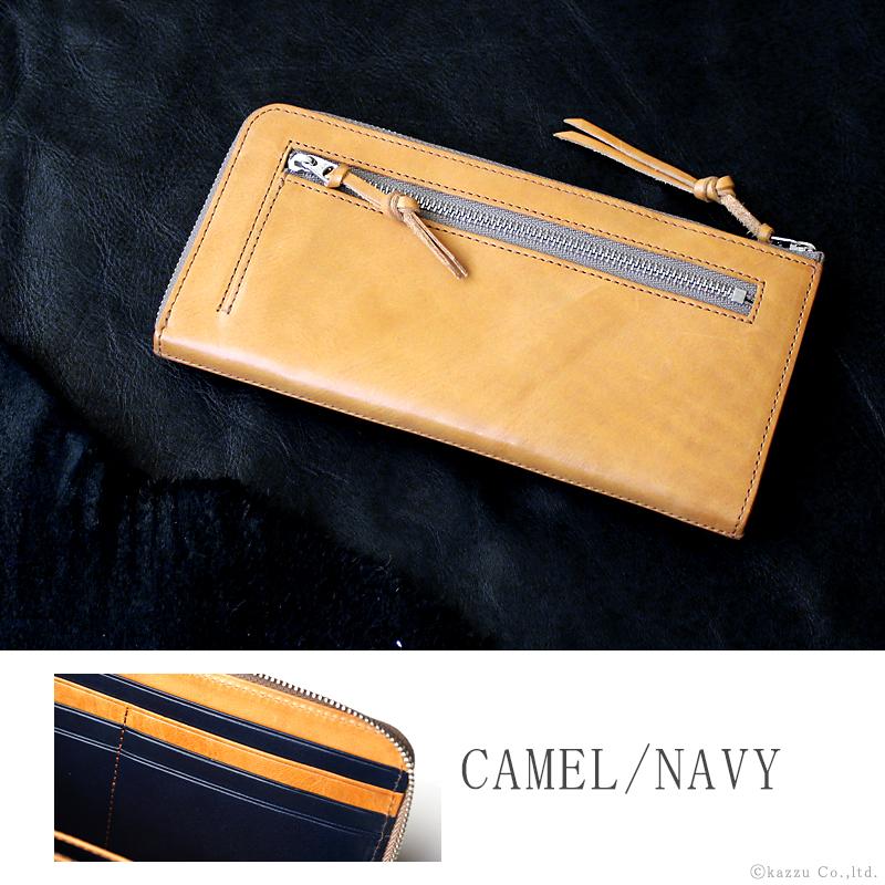 キャメル色の財布 人気 ブランド 本革 レザー キャメル×ネイビー