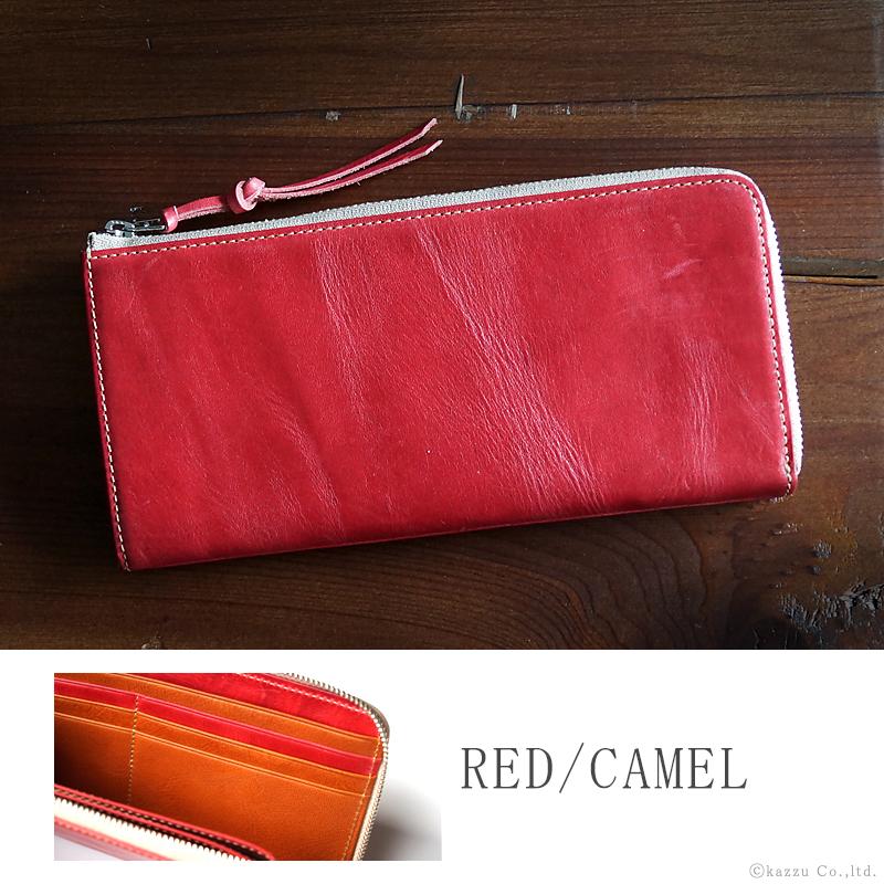 赤い財布 人気 ブランド 本革 レザー レッド×キャメル