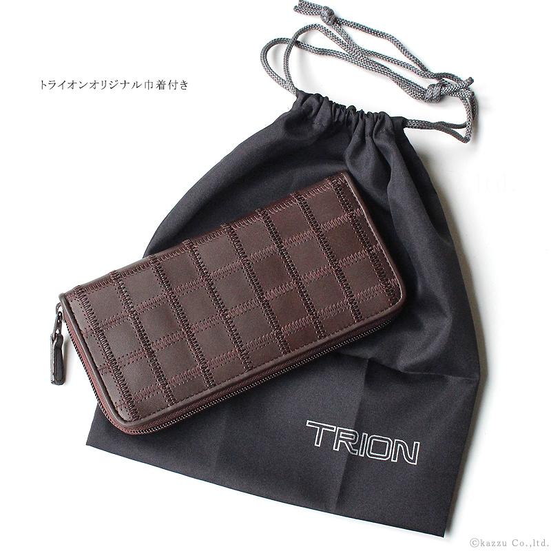 TRION 長財布 メンズ グローブレザー パッチワーク ラウンドファスナー ウォレット