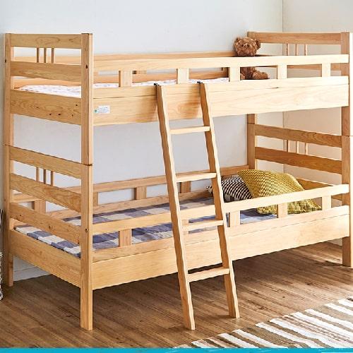 国産 2段ベッド 二段ベッド シングル 国産檜 オイル仕上げ