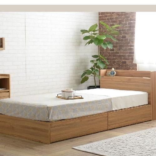 収納付きベッド(引出し2杯/ロータイプ)3色展開 ホワイト ナチュラル ブラウン シンプル ローベッド コンパクト 棚付き ヘッドボード 長物収納