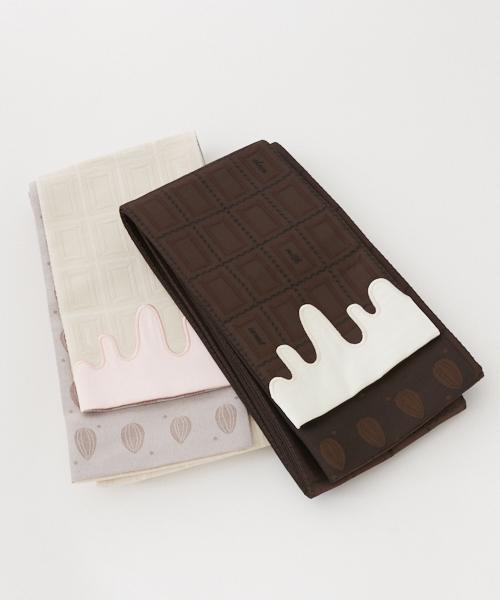 板チョコ半巾帯  ふりふオリジナル半巾帯 半幅帯 細帯 着物帯 おび 浴衣帯 ゆかた チョコレート お菓子をつつむ 板チョコ アーモンド 白 ピンク 茶 和装小物