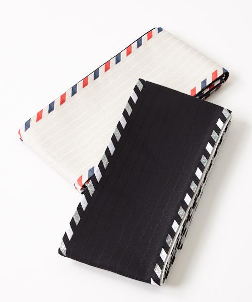 半巾帯「letter」 ふりふオリジナル半巾帯 半幅帯 細帯 着物帯 おび 浴衣帯 ゆかた 手紙 レター メッセージ 白 黒 和装小物