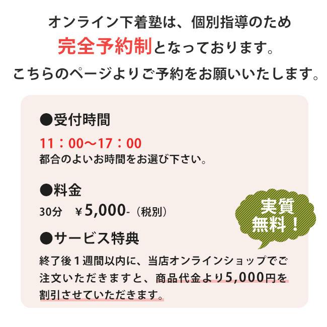 オンライン下着塾は、個別指導のため完全予約制で、11:00〜17:00の間で30分5千円税別になります