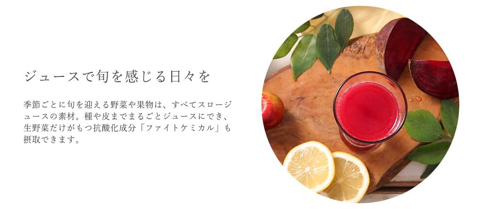 ジュースで旬を感じる日々を - 季節ごとに旬を迎える野菜や果物は、すべてスロージュースの素材。種や皮までまるごとジュースにでき、生野菜だけがもつ抗酸化成分「ファイトケミカル」も摂取できます。