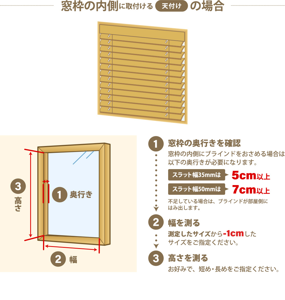 窓枠の内側に取付ける「天付け」の場合