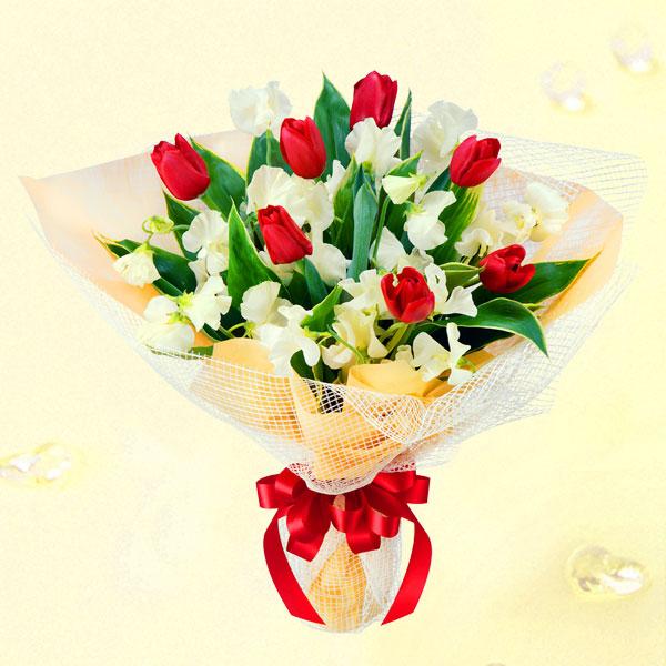 チューリップとスイートピーの花束 |チューリップギフトにおすすめ!人気のプレゼント特集 2019 |チューリップ特集