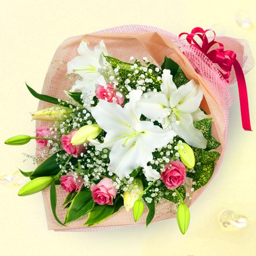 ユリのミックス花束 511035|秋の退職祝い