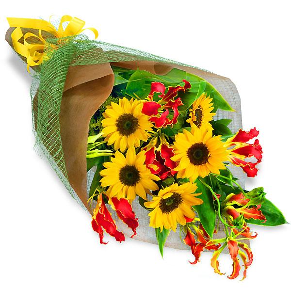 ひまわりとグロリオサの花束 511142 |花キューピットのひまわりギフト特集2019