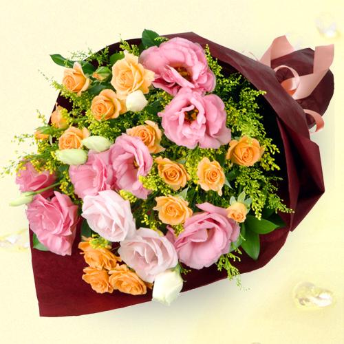 オレンジバラとトルコキキョウの花束 511171|秋のお祝い
