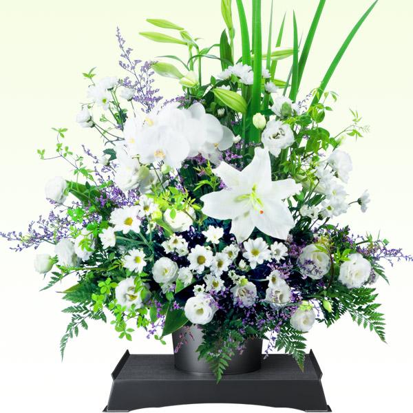 お供えのアレンジメント(供花台(中)付き) 511235 |花キューピットの2019 お盆(新盆・初盆)