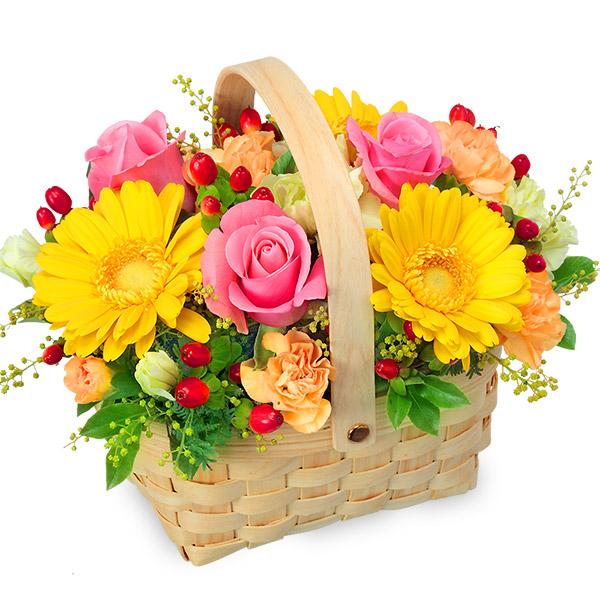 【秋の結婚記念日】ピンク&イエローのアレンジメント 511338 |花キューピットの秋の花贈りプレゼント特集2019