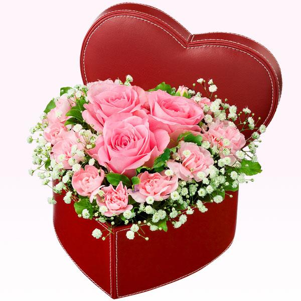 ピンクバラのハートボックスアレンジメント 511568|秋の結婚記念日