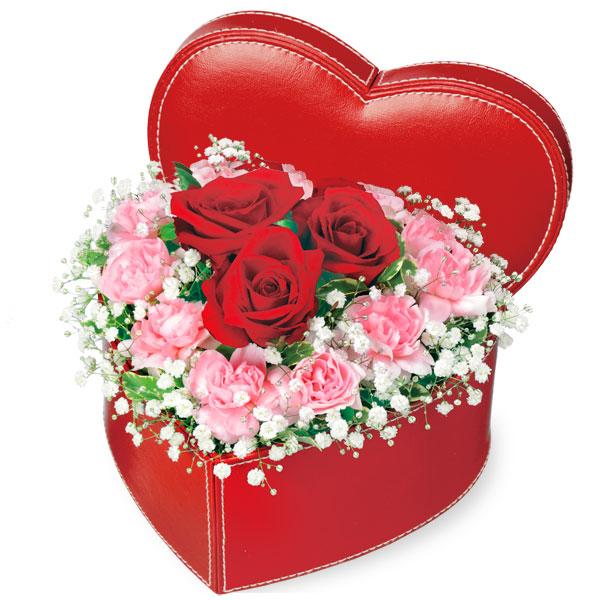 赤バラのハートボックスアレンジメント 511569 |花キューピットの2019結婚記念日特集