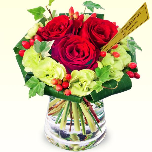 赤バラのグラスブーケ 511614 |花キューピットの2019結婚記念日特集