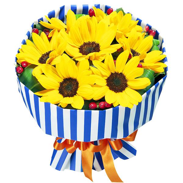 花キューピットブーケ(ストライプ) 511646 |ひまわり特集特集:花キューピットおすすめフラワーギフト!