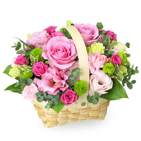 【母の日】ピンクバラのウッドバスケットアレンジメント 511726 |花キューピットの母の日プレゼント特集2020