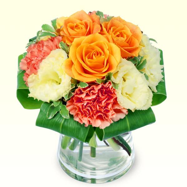 オレンジバラのグラスブーケ 511737 |花キューピットの2019父の日プレゼント特集
