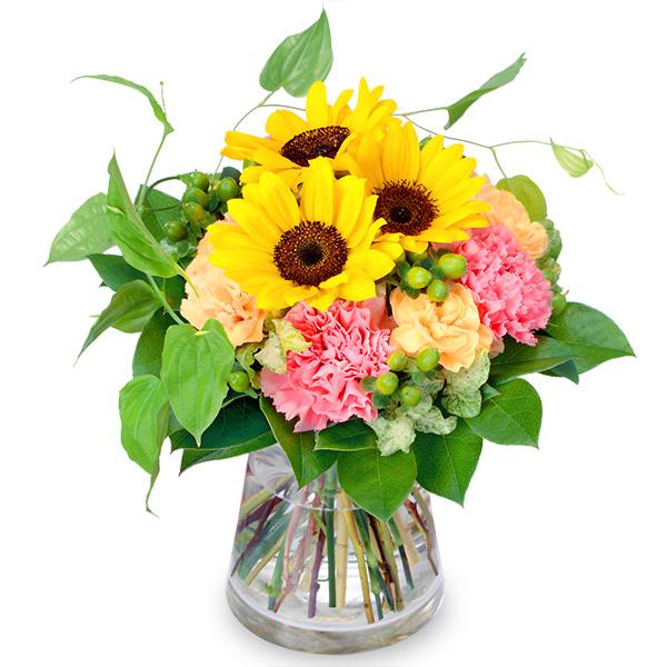 ひまわりとカーネーションのグラスブーケ 511759 |ひまわり特集特集:花キューピットおすすめフラワーギフト!