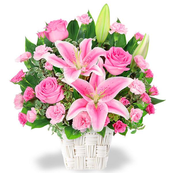 ユリとピンクバラのアレンジメント 511782 |花キューピットの2019結婚記念日特集