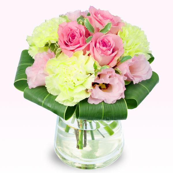 ピンクバラのグラスブーケ 511852 |花キューピットの2019結婚記念日特集