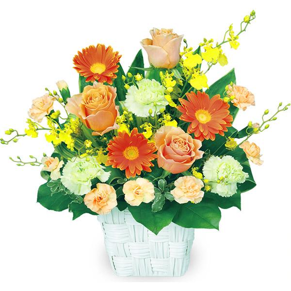 【秋の結婚記念日】オレンジバラのスクエアバスケット 511898 |花キューピットの秋の花贈りプレゼント特集2019