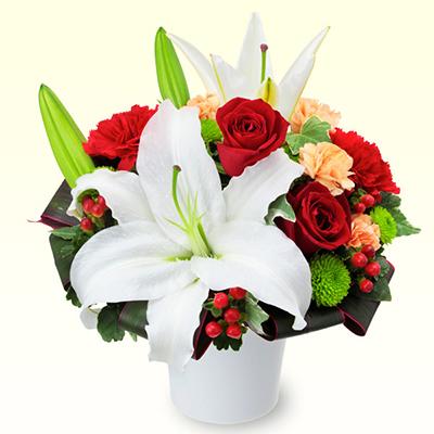 ユリと赤バラのエレガントアレンジメント 511968 |花キューピットの2019結婚記念日特集