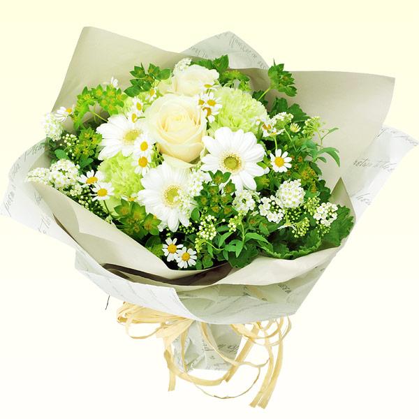 【秋の結婚記念日】白バラのナチュラルブーケ 512023 |花キューピットの秋の花贈りプレゼント特集2019